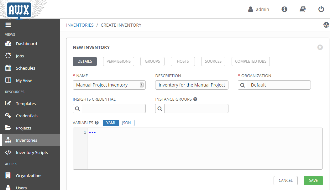 Create a new Inventory in AWX